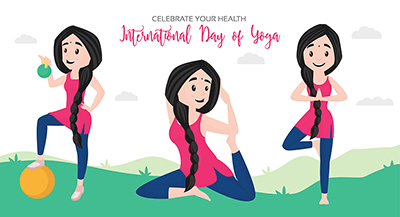 Banner of international day of yoga celebrate your health