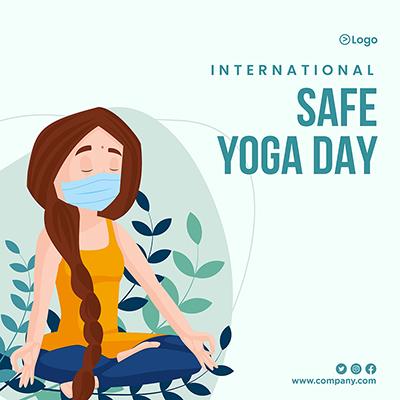 Banner of international safe yoga day