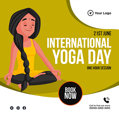 Banner of international yoga day one hour session