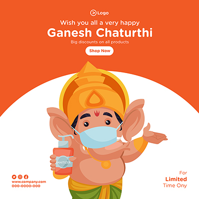 Banner of wish you all very happy ganesh chaturthi