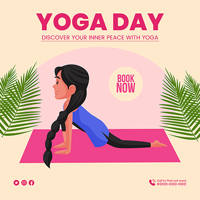 Banner of yoga day discover your inner peace with yoga