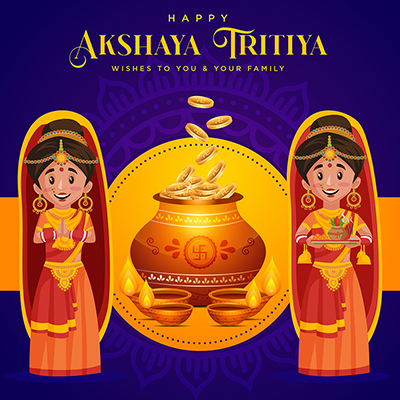 Banner template for happy akshaya tritiya wishes to you and your family