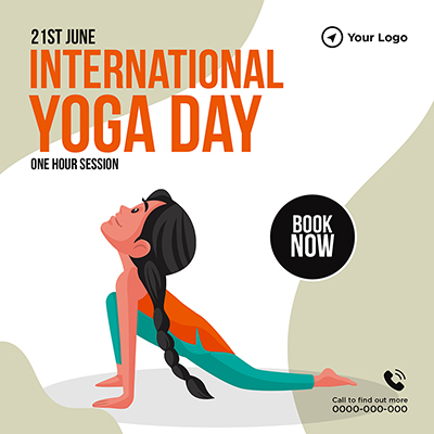 Banner template for international yoga day one hour session