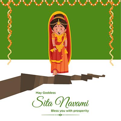 Banner template of goddess Sita navami auspicious celebration
