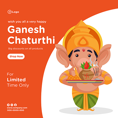 Banner template of wish you all very happy ganesh chaturthi