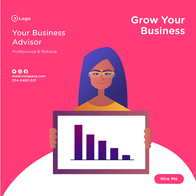 Banner design for grow your business with business advisor