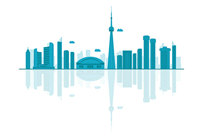 Canada vector skyline on a white background
