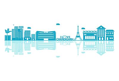Chandigarh city vector skyline on white background