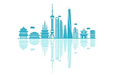 China vector skyline on white background
