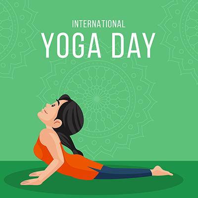 Flat banner of international yoga day