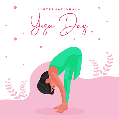 Flat banner template design with international yoga day