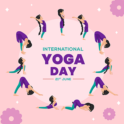 Flat banner template international yoga day