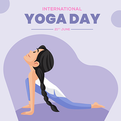 Flat banner template of international yoga day