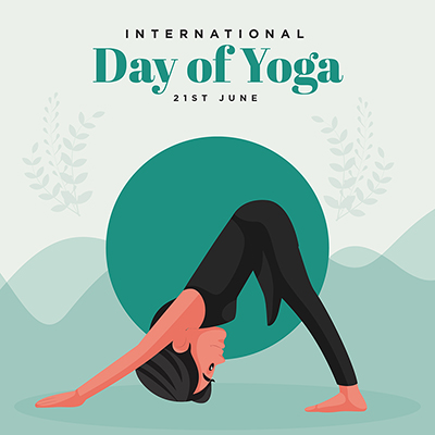 Flat banner template with international day of yoga