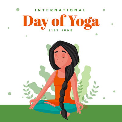 Flat banner with the international day of yoga