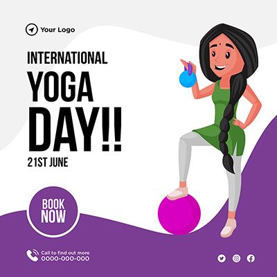 Flat international yoga day banner