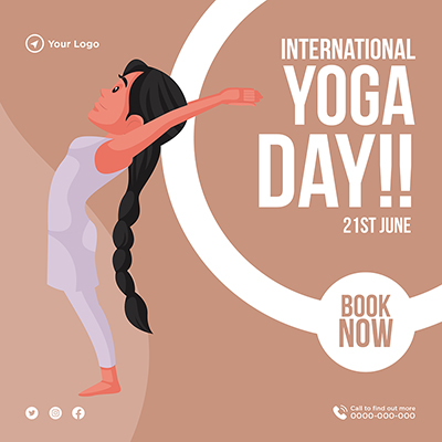 Flat international yoga day banner design