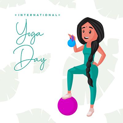 Flat international yoga day banner template design