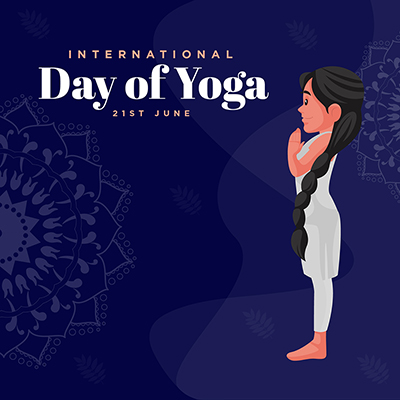 Flat social media banner with international day of yoga