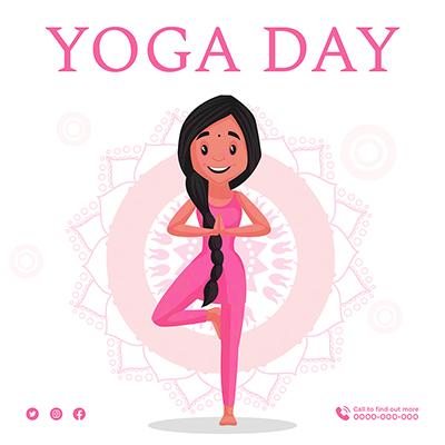 Yoga day illustration banner design
