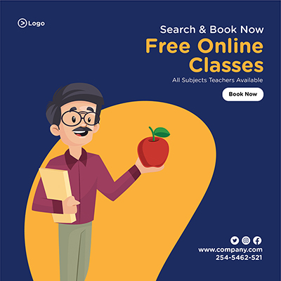 Free online classes for all subjects banner template design