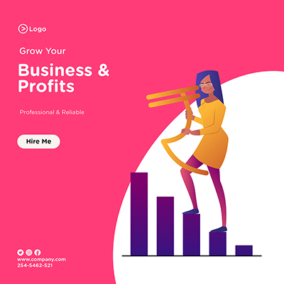 Grow your business and profits banner design