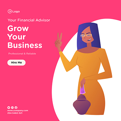 Grow your business with social media banner