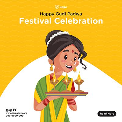 Happy Gudi Padwa festival celebration social media banner