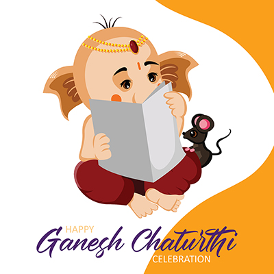 Hindu festival happy Ganesh Chaturthi celebration banner