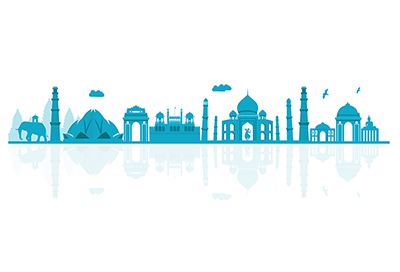 India vector skyline on white background