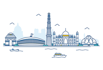 India vector skyline on a white background