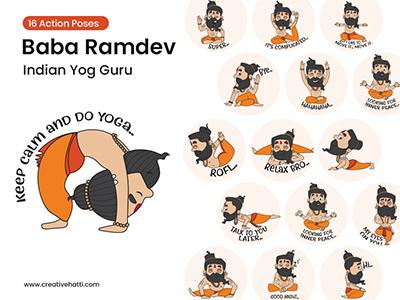 Baba Ramdev Indian Yog Guru Vector Character Bundle
