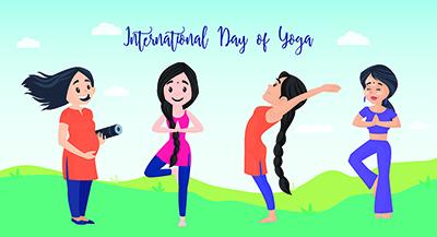 International day of yoga flat banner template design