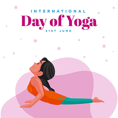 International day of yoga with banner