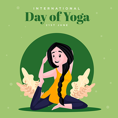 International day of yoga with flat banner