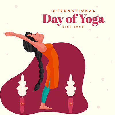 International day of yoga with flat banner design