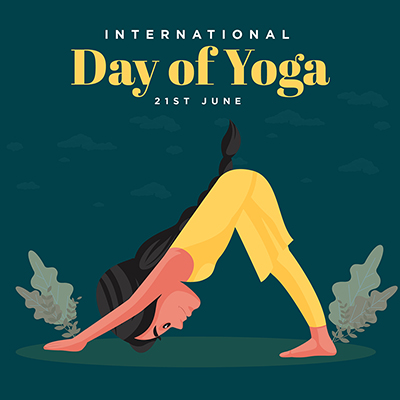International day of yoga with flat banner design template