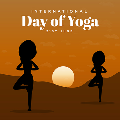 International day of yoga with flat banner template