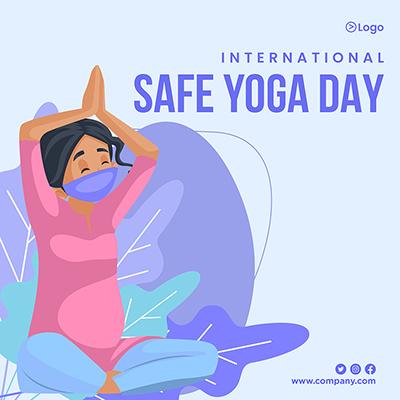 International safe yoga day banner design