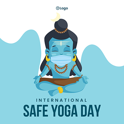 International safe yoga day banner design template