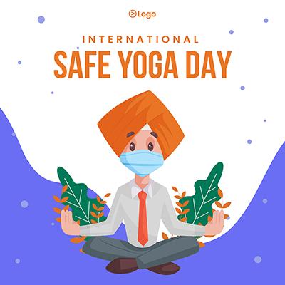 International safe yoga day banner template
