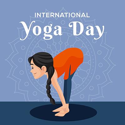 International yoga day flat banner design template