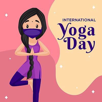International yoga day illustration banner template