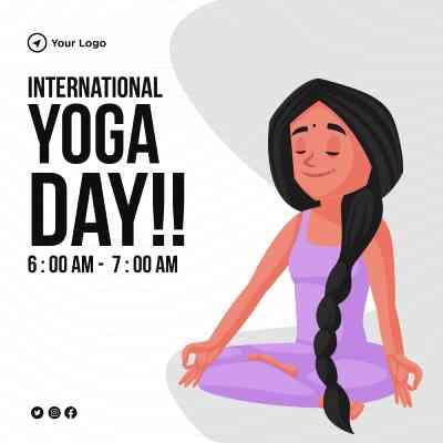 International yoga day illustration flat banner