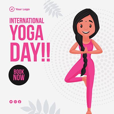 International yoga day illustration flat banner template