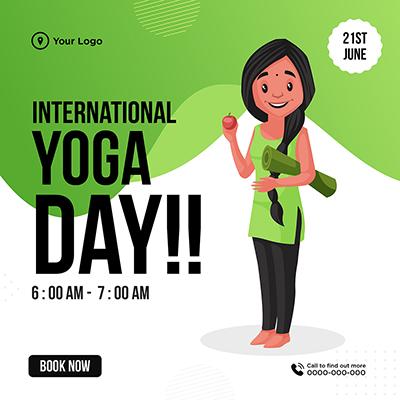International yoga day on 21st June banner design template
