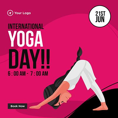 International yoga day on 21st June banner template
