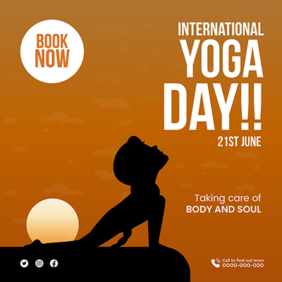 International yoga day taking care of body and soul banner