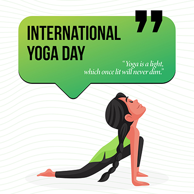 International yoga day banner yoga is a light which once lit will never dim