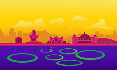 Manipur city vector skyline on colored background